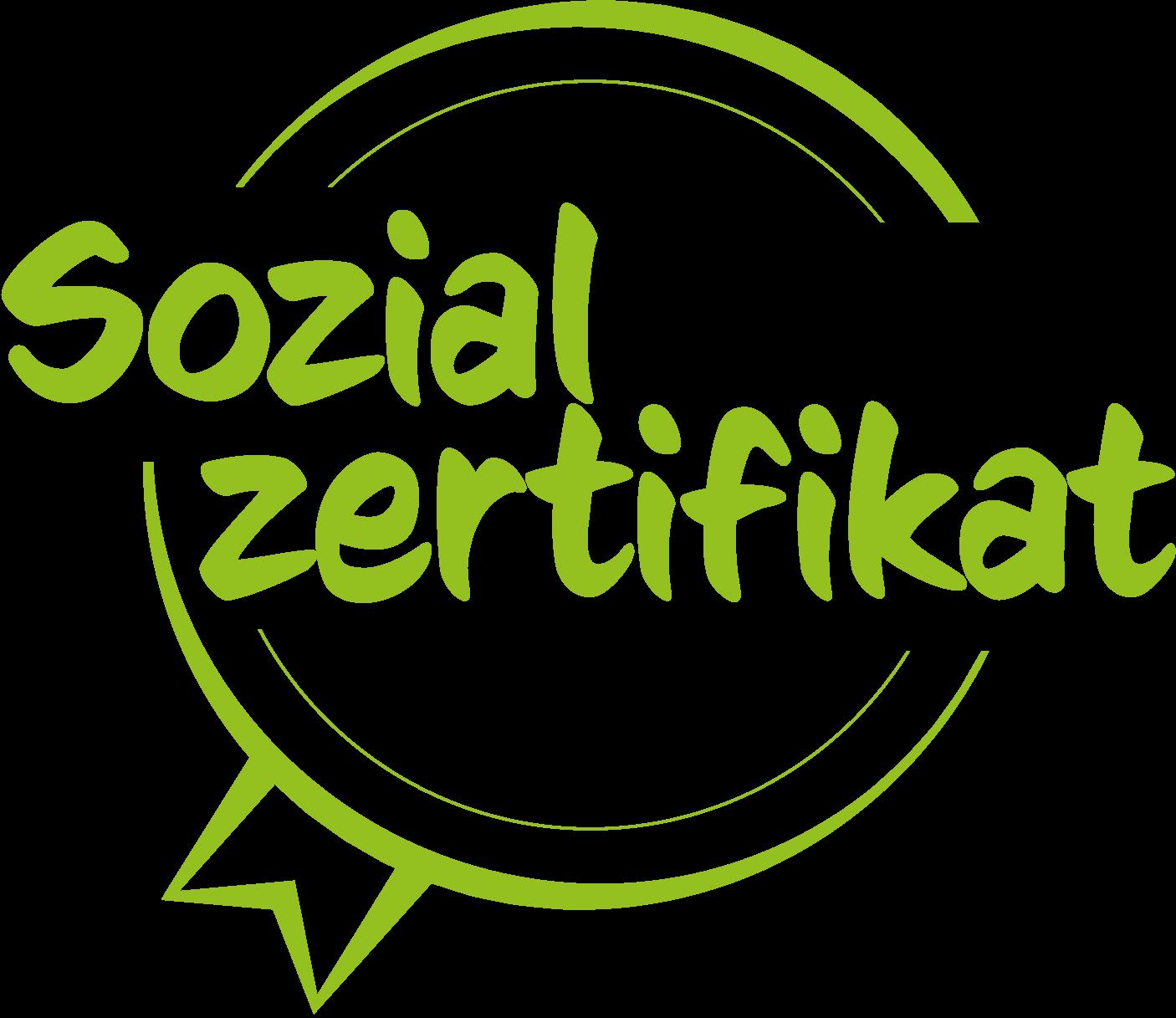 Sozialzertifikat Logo in Grün mit einem schwarzen youngCaritas Logo